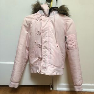Juicy Couture Pink Puffy Jacket with Faux Fur Hood
